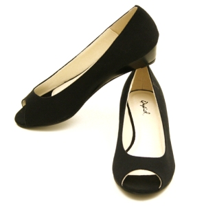 canvas black open-toed flat - $22.99